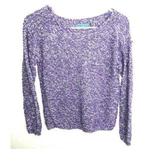 Alice + Olivia Purple White Knit Pullover Sweater